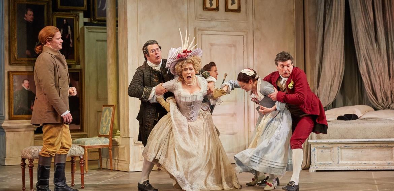 Le nozze di Figaro Garsington Opera 2017 Duncan Rock (Count), Stephen Richardson (Bartolo), Timothy Robinson (Basilio), Janis Kelly (Marcellina), Joshua Bloom (Figaro) credit Mark Douet-min.jpg