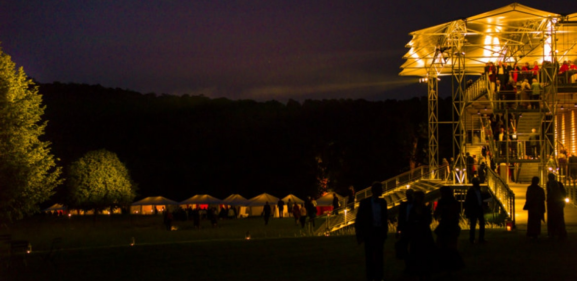 Opera Pavilion and tents at night