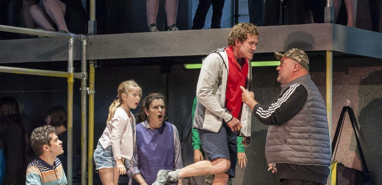 Garsington Opera 2017 Silver Birch James Way (Davey), Katya Harlan (Chloe), Victoria Simmonds (Anna), Sam Furness (Jack), Darren Jeffery (Simon) credit John Snelling